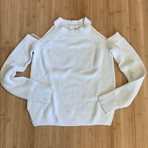 Rag & Bone Ivory Cotton Cold Shoulder Sweater